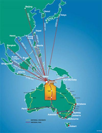 موقعیت تجاری داروین در منطقه
